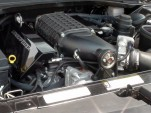 Dodge Challenger engine bay showing Lingenfelter supercharger