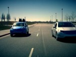 World's Quietest Drag Race? Nissan Leaf Vs Chevy Volt (Video)