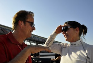 Driver coach Arie Luyendyk and Katherine Legge - Anne Proffit photo