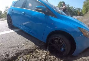 Driver crashes 2016 Ford Focus RS into a ditch