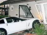 Drunken Corvette driver parks in puppeteer's living room -- image via The Burbank Leader
