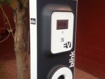 ECOtality Blink charging station, showing sticker on the side with 800 number