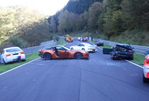 Eight cars, including the BMW M3 Ring Taxi, crash on the Nurburgring
