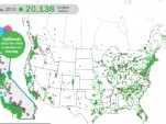 Electric-car charging station locations as of May 2013, combined data from Recargo and Xatori