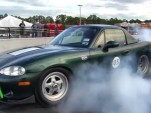 Electric Miata drag race car does burnout