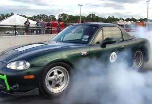 Electric Miata drag race car does burnout