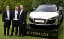 Elton John with friends and the chrome Audi R8 Spyder