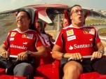 Felipe Massa and Fernando Alonso on the Formula Rossa roller coaster