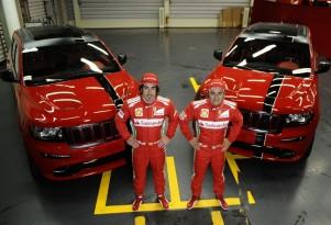 Fernando Alonso, Felipe Massa and their new company cars.