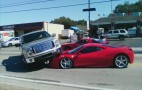 Ferrari 458 Italia gets run over by Ford F-150 pickup