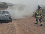Ferrari 599 burns by the side of a road in Arizona