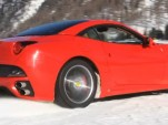 Ferrari California on the snow fields of St. Moritz, Switzerland