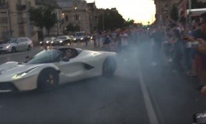 Ferrari driven by Josh Cartu does donuts dangerously close to a crowd