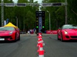 Ferrari F12 Berlinetta and 599 GTO at the drag strip