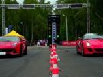 Ferrari F12 Berlinetta and 599 GTO at the drag strip