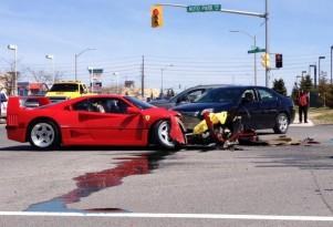 Ferrari F40 crashed during mechanic's test drive