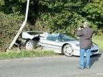Ferrari F50 that crashed in the U.K. (Image via Western Morning News)