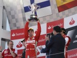 Ferrari's Fernando Alonso after winning the 2013 Formula 1 Spanish Grand Prix