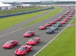Ferraris line up for a parade lap of Silverstone in 2007