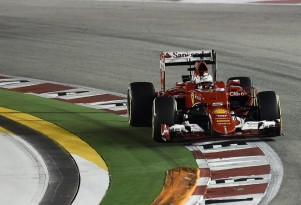 Ferrari's Sebastian Vettel at the 2015 Formula One Singapore Grand Prix