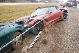 First 2015 Chevrolet Corvette Z06 Convertible crash (Image via Corvette Blogger)