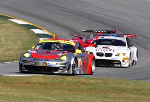 Flying Lizard leads BMW, ALMS GT series. Photo: Anne Proffitt.
