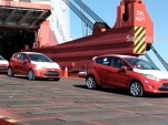 Ford Fiestas offload from the container ship and enter a U.S. port
