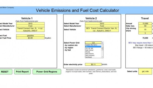 ford offers fleet buyers tool to compare total emissions costs. Black Bedroom Furniture Sets. Home Design Ideas