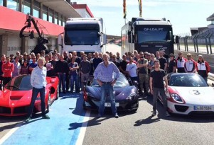 Former 'Top Gear' hosts with the Ferrari LaFerrari, McLaren P1 and Porsche 918 Spyder