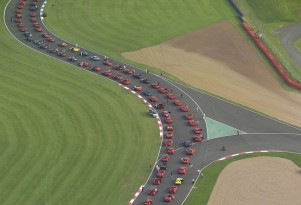 Gathering of Ferraris to attempt new record at Silverstone race track in the UK