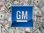 General Motors 'GM' logo on background of cold, hard, U.S. cash money