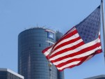 GM Renaissance Center American flag