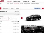 GMC's updated website with Facebook integration