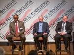 GM's Gerald Johnson, Michigan governor Rick Snyder, Detroit mayor Mike Duggan at GM event, Apr 2014