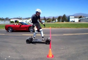 Gnarboard beats Corvette in (very short) drag race