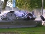 Harry Kleinjan crashes his Porsche 911 RSR in a vintage rally