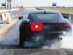 Hennesey HPE600 Jaguar F-Type Coupe R on the drag strip