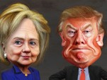 Hillary Clinton and Donald Trump (a caricature by Flickr user DonkeyHotey)