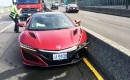 Honda NSX crash on Wang Kung Temple Provincial Highway, Taiwan - Image via Apple Daily Taiwan