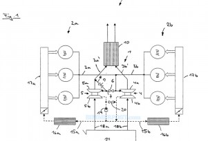 BMW patent schematic of V-6 twin-turbo engine