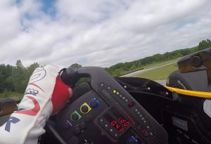 In-Car view as Graham Rahal drives an Indy Car around Road America
