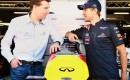 Infiniti's Simon Sproule and Sebastian Vettel