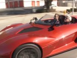 Jay Leno behind the wheel of a Rezvani Beast