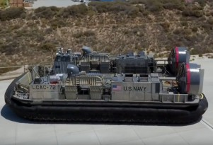 Jay Leno drives a US Navy LCAC hovercraft
