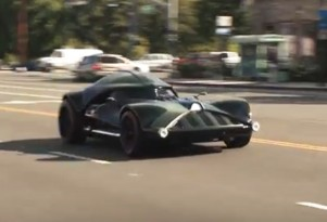 Jay Leno drives the Hot Wheels Darth Vader car
