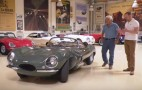 Jay Leno  inspects the 'new' 1957 Jaguar XKSS