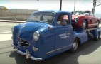 Jay Leno shows off his vintage Mercedes race car transporter