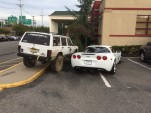 Jeep driver takes some mild vigilante action against jerk-parked Corvette. Image via Reddit.