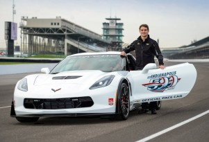 Jeff Gordon and the Chevrolet Corvette Z06 pace car for the 2015 Indianapolis 500