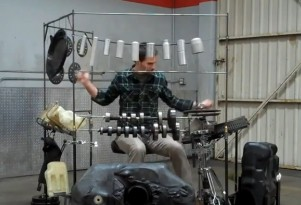 Jordan Hill's Motor Rhythms are made from salvaged car parts